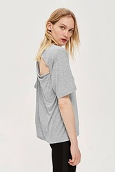 Topshop Slash Back T Shirt By Boutique Grey Marl