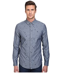 Original Penguin Long Sleeve Space Jacquard Chambray Print Dark Sapphire Men's Long Sleeve Button Up Blue