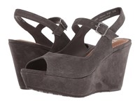Trask Tessa Grey Oiled Suede Wedge Shoes Gray