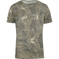 Jack And Jones River Island Brown Vintage Leaf Print T Shirt