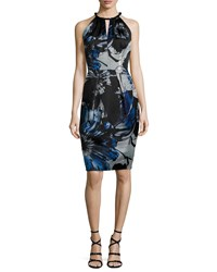 Carmen Marc Valvo Sleeveless Keyhole Front Floral Sheath Dress Size 2 Black Midnight