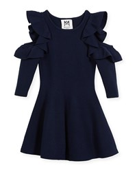 Milly Minis Knit Cold Shoulder Ruffle Dress Size 4 7 Navy