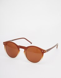 Asos Round Sunglasses In Brown Frosted Fade Brown