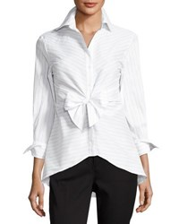 Neiman Marcus Striped Tie Front Blouse White Black
