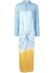 Tome Long Shirt Dress With Knot Blue