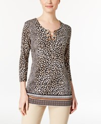 Jm Collection Petite Printed Chain Detail Keyhole Tunic Only At Macy's Leopard Grid