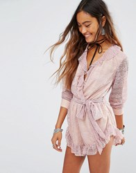 Young Bohemians Playsuit With Wrap Front And Lace Sleeves Dusty Pink