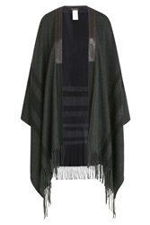 Etro Printed Cashmere Cape With Leather Grey