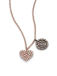 Meira T Diamond And 14K Rose Gold Heart Pendant Necklace