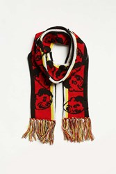 Urban Outfitters Uo Jacquard Knit Pattern Scarf Red Multi