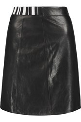 Alexander Wang Stretch Knit Trimmed Leather Mini Skirt Black