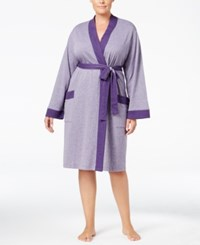 Charter Club Plus Size Contrast Trimmed Double Knit Wrap Robe Only At Macy's Wine Heather
