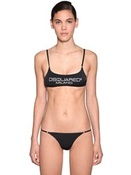 Dsquared Printed Lycra Bikini Top Black