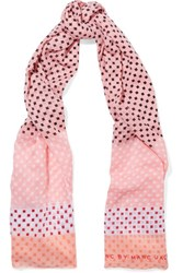 Marc By Marc Jacobs Printed Cotton Scarf Pink