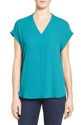Pleione Women's High Low V Neck Mixed Media Top Teal Green