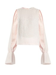 Osman Petra Round Neck Long Sleeved Jacquard Top Pink