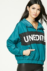 Forever 21 Unedited Graphic Windbreaker Teal Black