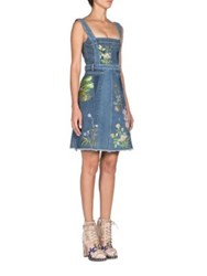 Alexander Mcqueen Embroidered Floral Denim Dress Medium Blue