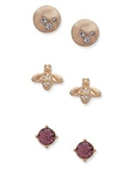 Lonna And Lilly Set Of Three Crystal Stud Earrings Gold