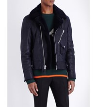 Coach Motorcycle Shearling Leather Jacket Navy
