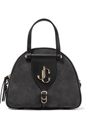 Jimmy Choo Varenne Leather Trimmed Suede Tote Charcoal