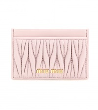 Miu Miu Matelasse Leather Card Holder Pink