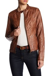 Sebby Faux Leather Jacket Brown