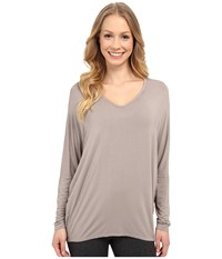 Hard Tail Slouchy V Neck Tee Driftwood Women's T Shirt Brown
