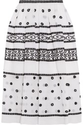 Temperley London Lizette Embroidered Cotton And Silk Blend Organdy Midi Skirt White