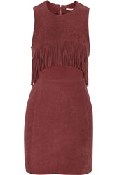 Rebecca Minkoff Fringe Trimmed Suede Mini Dress Red