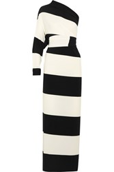 Norma Kamali Multi Way Striped Stretch Jersey Maxi Dress Black