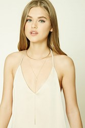 Forever 21 Collar Drop Chain Necklace Gold Clear