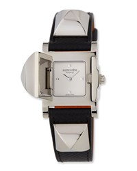 Hermes Medor Pm Watch With Black Epsom Strap