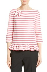 Kate Spade Women's New York Stripe Corsage Tee Off White Tile Pink