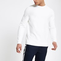 River Island White Twill Crew Neck Sweatshirt