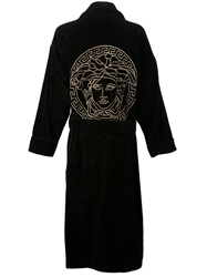 Versace Embroidered Robe Black
