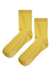 Topshop Cropped Ribbed Glitter Ankle Socks Fluro Yellow