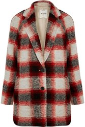 Madewell Plaid Wool Blend Coat Red