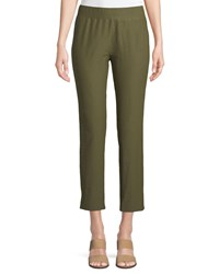 Eileen Fisher Washable Stretch Crepe Cropped Pants Olive