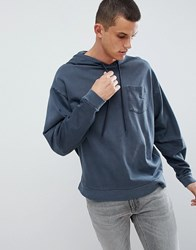 Asos Design Oversized Hoodie With Cut And Sew Sleeves In Navy Vintage Wash