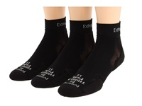 Thorlos Experia Mini Crew 3 Pair Pack Solid Black Quarter Length Socks Shoes