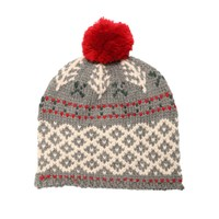 Lowie Grey Winter Forest Pom Beanie Bobble Hat