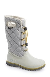 Women's Bogs 'June' Lace High Waterproof Quilted Boot Light Grey