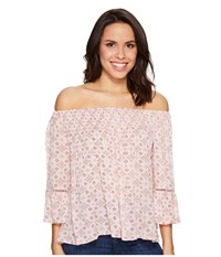 Brigitte Bailey Mae Off The Shoulder Top With Lace Inset Pink Women's Clothing