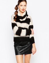 Love Moschino Stripe Roll Neck Jumper Blk Wht Stripe Black