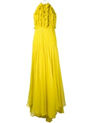 Maria Lucia Hohan Frayed Gown Women Silk Nylon Spandex Elastane 38 Yellow Orange