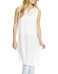 Jessica Simpson Papaya Sleeveless Button Front Shirt Cloud Dancer