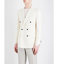 Thom Sweeney Herringbone Double Breasted Wool Jacket White