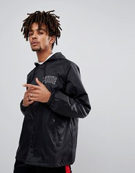 Huf Hooded Coach Jacket With Embroidered Back Logo In Black Black