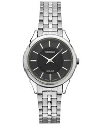 Seiko Women's Solar Slimline Stainless Steel Bracelet Watch 27Mm Sup343 Silver